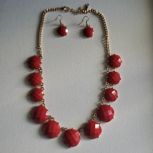 Like New Red Necklace & Earring Set